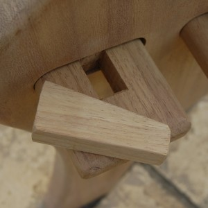 Iroko pegs hold bench together