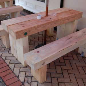 Cranham legs had to be cut at different lengths and at an angle to suit the unlevel surface